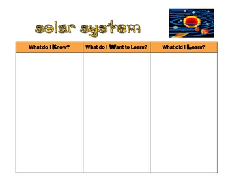 Solar System KWL Chart