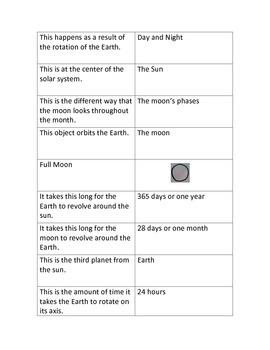 Solar System Match Up