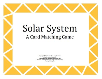 Solar System Matching Card Game