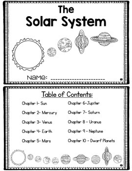 Solar System Mini Book with Space Vocabulary and Questions