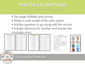 Solar System Modeling Activity and Foldable