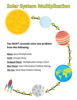 Solar System Multiplication Problem Solving Game Board (Qu