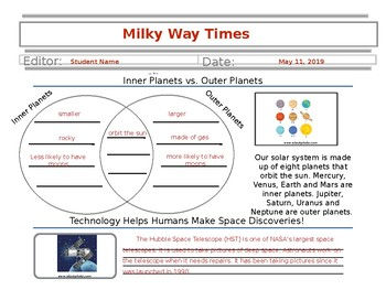 Solar System Newspaper Template