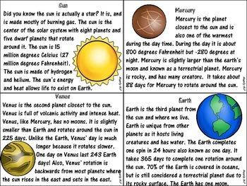 Solar System Nonfiction Paragraphs