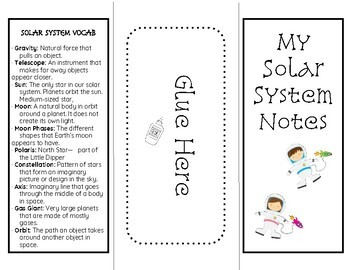 Solar System Note Foldable