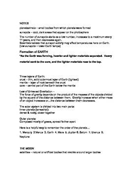 Solar System Notes