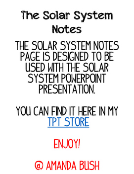 FREE Solar System Notes Page for PowerPoint
