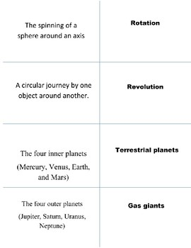 Solar System Notes, Vocabulary Cards and Quiz