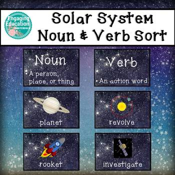 Solar System Noun and Verb Sorting Cards