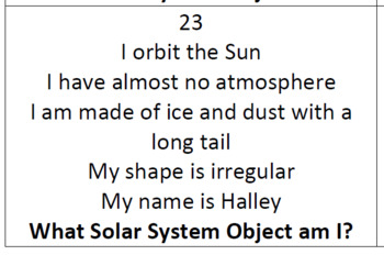 Solar System Objects Task Cards