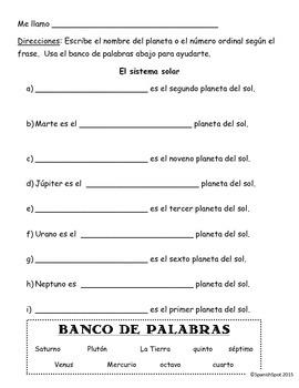 Solar System & Ordinal Numbers in Spanish/Sistema Solar y Numeros Ordinales