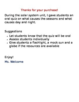 Solar System Performance Quiz