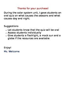 Solar System Performance Quiz