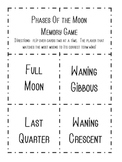 Solar System- Phases of the Moon Memory Game