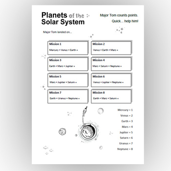 Solar System Planets -  Major Tom landed on...  (Solar System Planets and Maths)