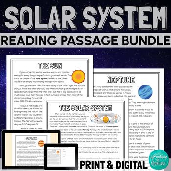 Solar System (Planets) Reading Comprehension Bundle
