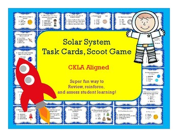 Solar System, Planets, Space Task Cards, Scoot Game  CKLA Aligned