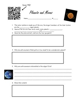 Solar System: Planets and Moons QR code activity