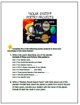 """Solar System 'Poetry"""" Writing Projects"""