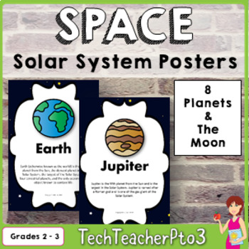 STEM Solar System Posters 8 Planets and The Moon Description Full Colour