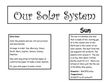 Make a Giant Solar System Poster Craft Activity, Sun Planets Descriptions