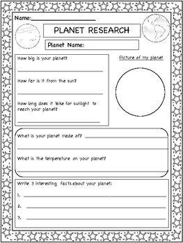 Solar System Project Assignment Freebie