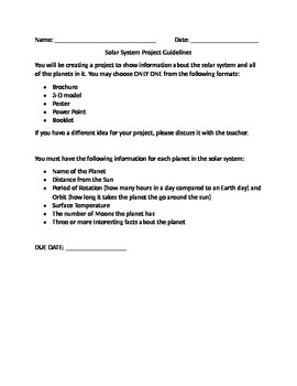 Solar System Project Guidelines and Rubric