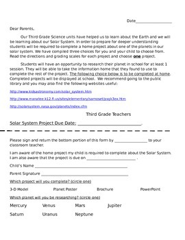 Solar System Project and Rubric