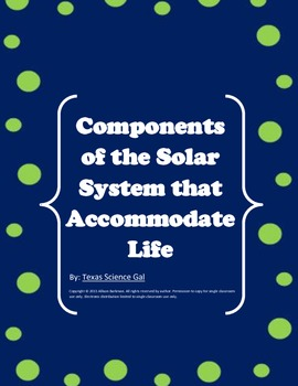 Solar System Quick Writes-Components to Sustain Life