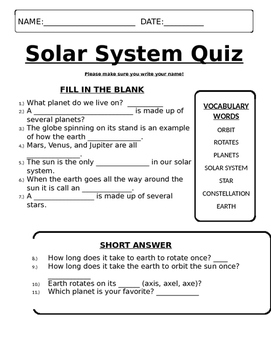 solar system quiz answers - photo #19