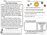 Solar System Reading Comprehension Passages And Questions ...