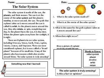 solar system reading comprehension -#main