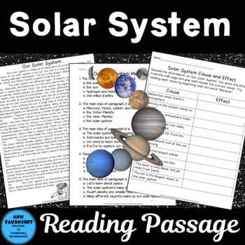Solar System Reading Passage with Activities