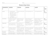 Solar System Research Paper Rubric