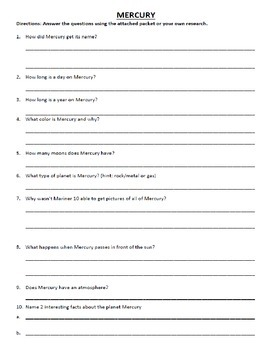 Solar System Research Questions Packet