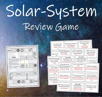 Solar System Review Game (Intro to Solar-System & Sun Earth Moon System)
