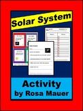 Solar System Task Cards and Worksheet