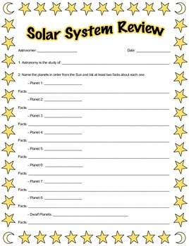 Solar System Review Worksheet