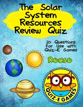 Solar System Review for Third Grade Science for Use in Quiz-E Games- Planets