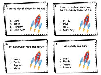 Solar System Riddle Task Cards