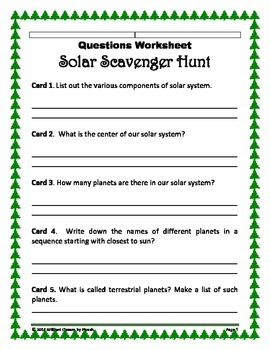 Solar System Scavenger Hunt - An Activity