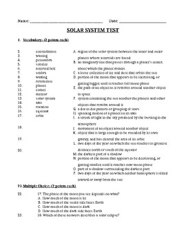 Solar System Science Study Guide and Test
