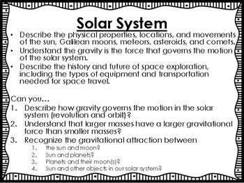 Solar System Science Unit Overview Student Booklet (STAAR questions)