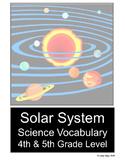 Solar System Science Vocabulary