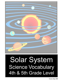 Solar System Science Vocabulary