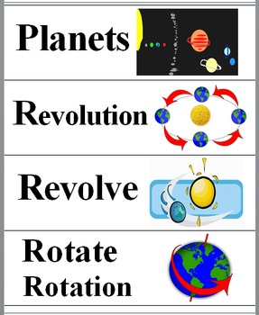 Solar System Illustrated Science Word Wall