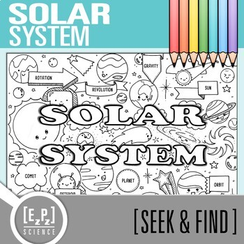 Solar System Seek and Find Science Doodle Page