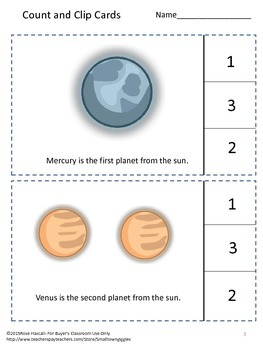 Solar System Task Cards Math Counting to 10 Count and Clip Math Centers