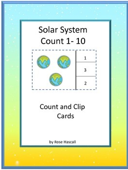 Count and Clip Task Cards Solar System Math Center Activities