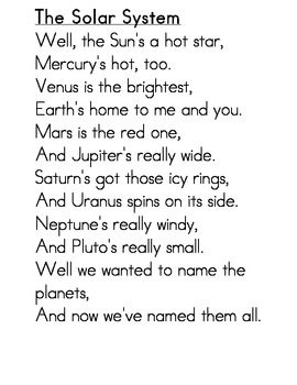 Solar System Song/Activity